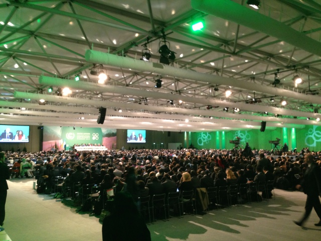 Party representatives and observers from IGOs and NGOs at opening session of COP19
