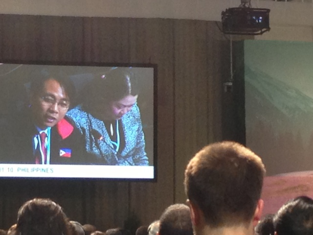Philippines representative at COP19 speaking at opening